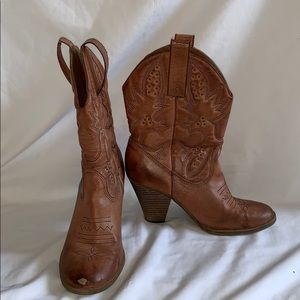 Brown heeled cowboy boots